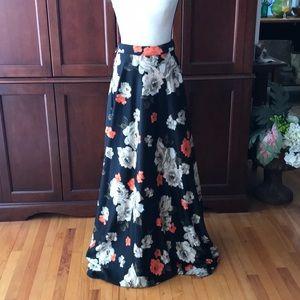 Black floral long skirt